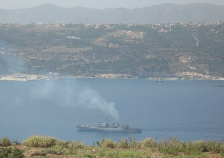 Souda bay with warship