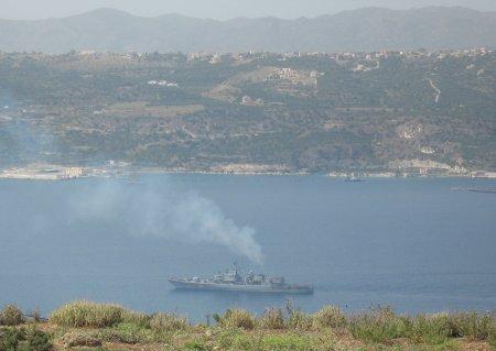 Souda bay with warship